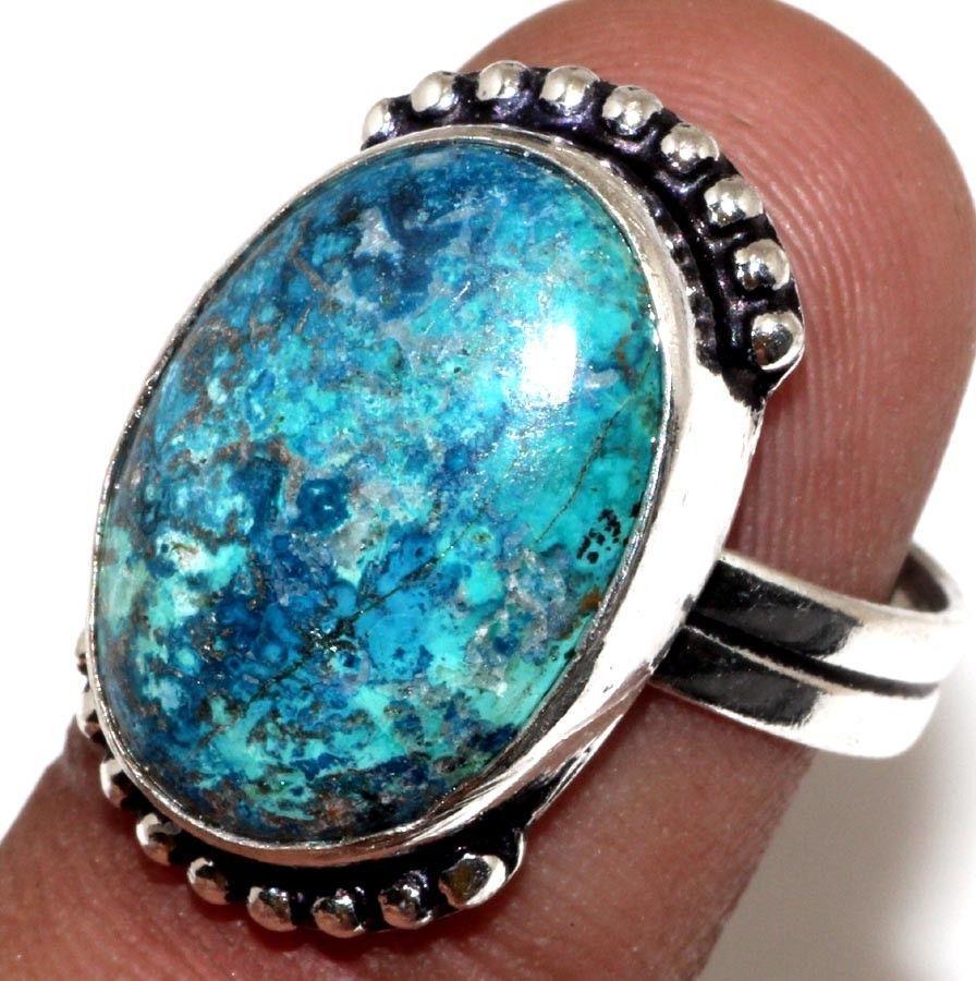 Кольцо хризоколла в серебре 18 размер. Кольцо с хризоколлой. Природная хризоколла Индия!
