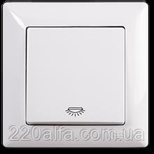 Кнопочный выключатель 1 кл.Visage, Gunsan (белый и крем)
