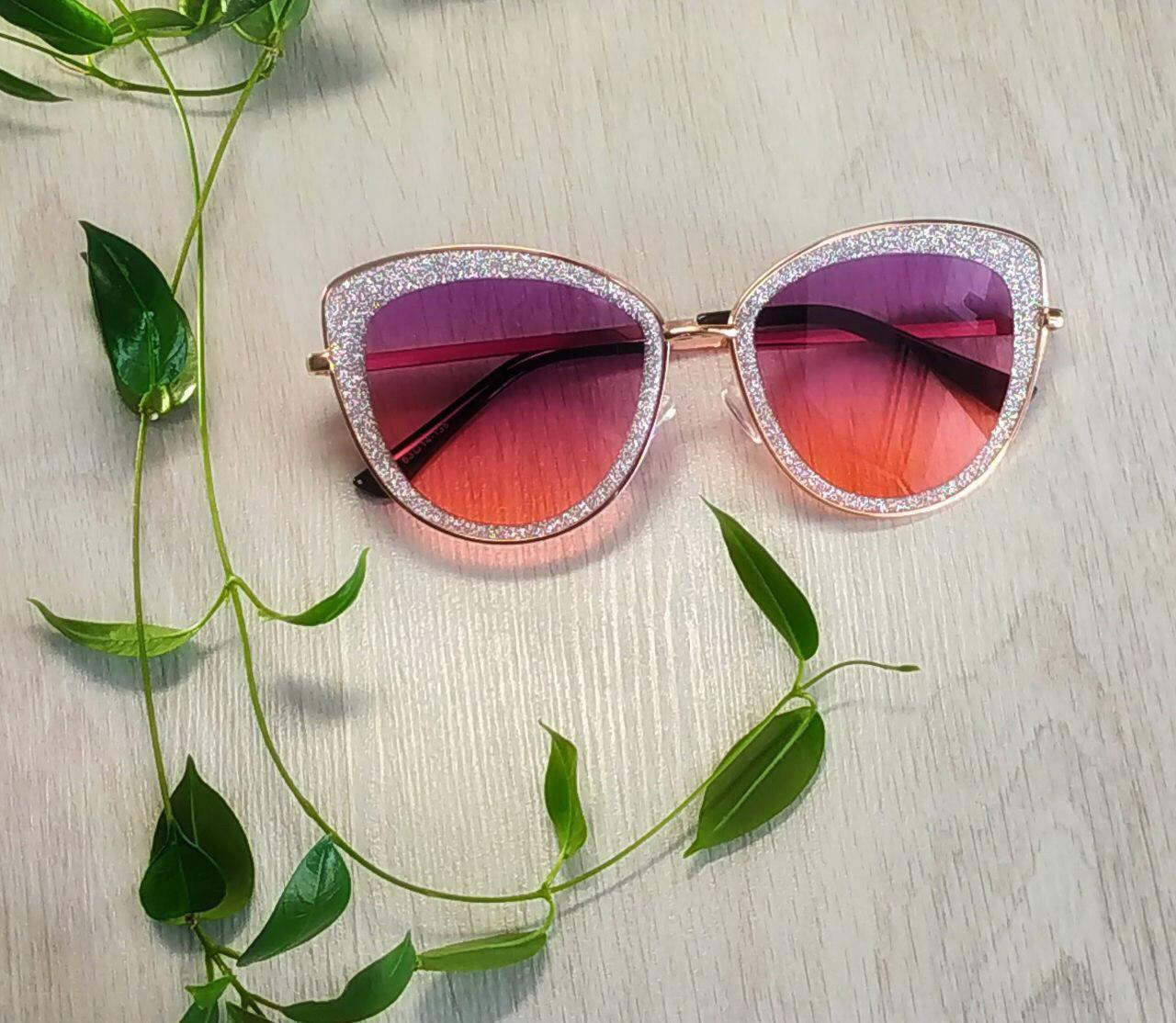 Солнцезащитные очки бабочка розовые