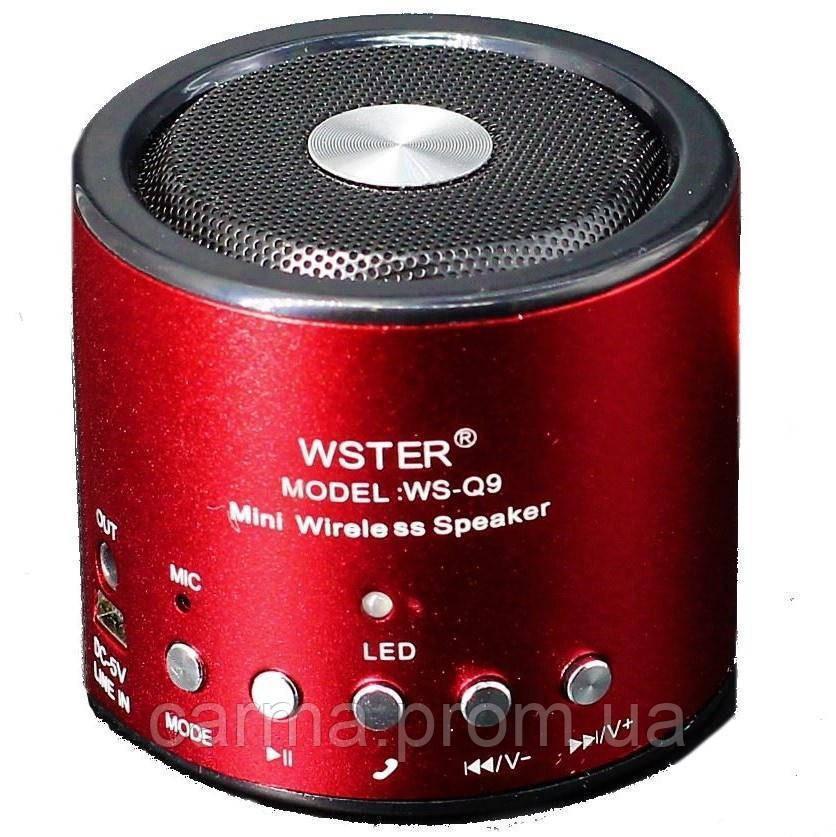 Портативная Bluetooth колонка WSTER WS Q9BT Красная