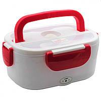 Ланч бокс LUNCH BOX с авто подогревом и питанием от автомобильного прикуривателя 12V Белый с красным, фото 1
