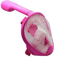 Детская маска для плавания полнолицевая Easybreath XS панорамная с креплением для камеры Розовая