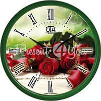 Настенные часы Классика 'Красные розы' 300Х300Х45мм