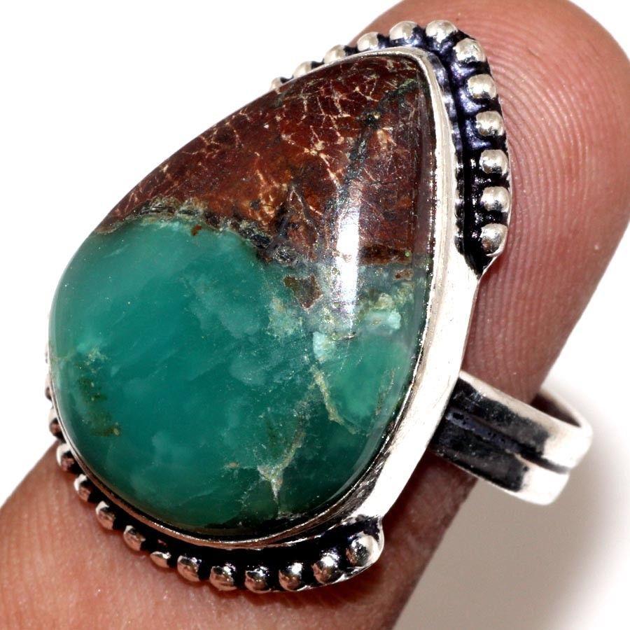 Хризопраз красивое кольцо капля природный хризопраз в серебре. Кольцо с  хризопразом 19,3 размер Индия!