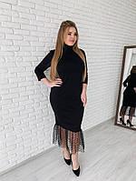 20dc0c30b11 Женское элегантное строгое платье 2019 больших размеров (рр 42-94) черное