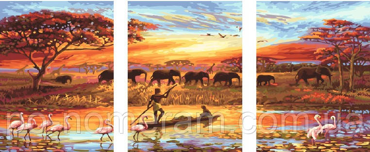 Раскраска для взрослых Триптих Закат над Нилом (PX5166) 50 ...