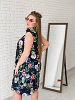 3031b1d03f0 Женское стильное летнее платье 2019 больших размеров (рр 42-94) цветы на  синем