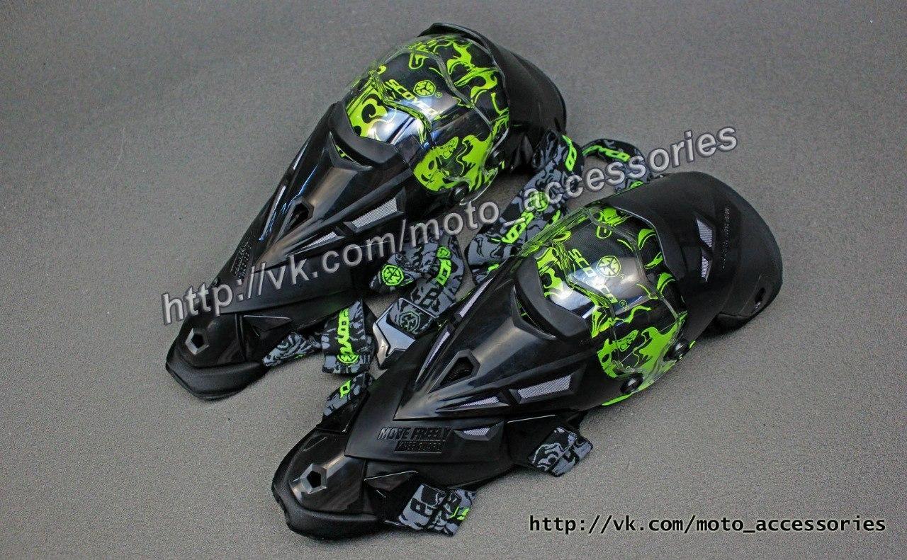 Шарнирные наколенники Scoyco K12 (Черно-зеленые)