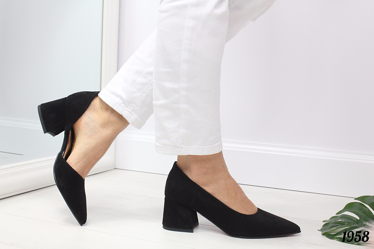 eb35a00cf8e8 Женские черные туфли Valency на небольшом каблуке натуральная замша -  Интернет-магазин обуви TINA LUX