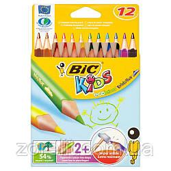 Цветние карандаши треугольние Bic (12 цветов)