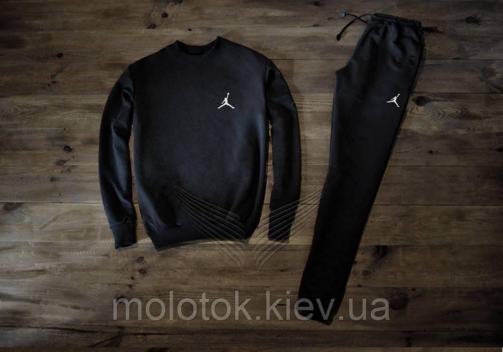 Мужской спортивный костюм Джордан черный на манжете Реплика