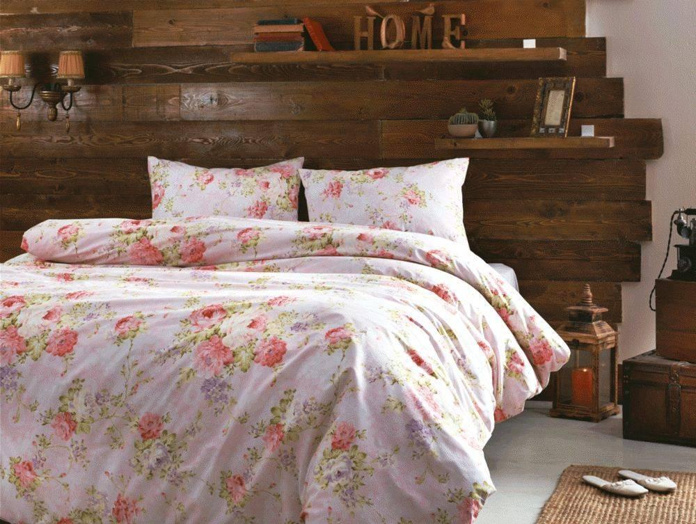 Комплект постельного белья Tivolyo Home Fresie Розовый, двуспальный - евро