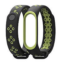 Ремешок для фитнес-браслета Xiaomi Mi Band 3, Black with green