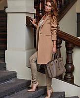 Стильное классическое кашемировое пальто на одной пуговице с отложним воротом