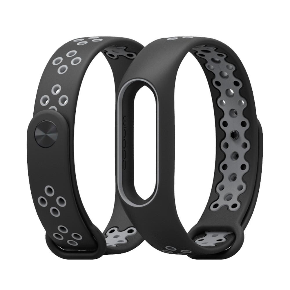 Ремешок для фитнес-браслета Xiaomi Mi Band 2, Black with gray