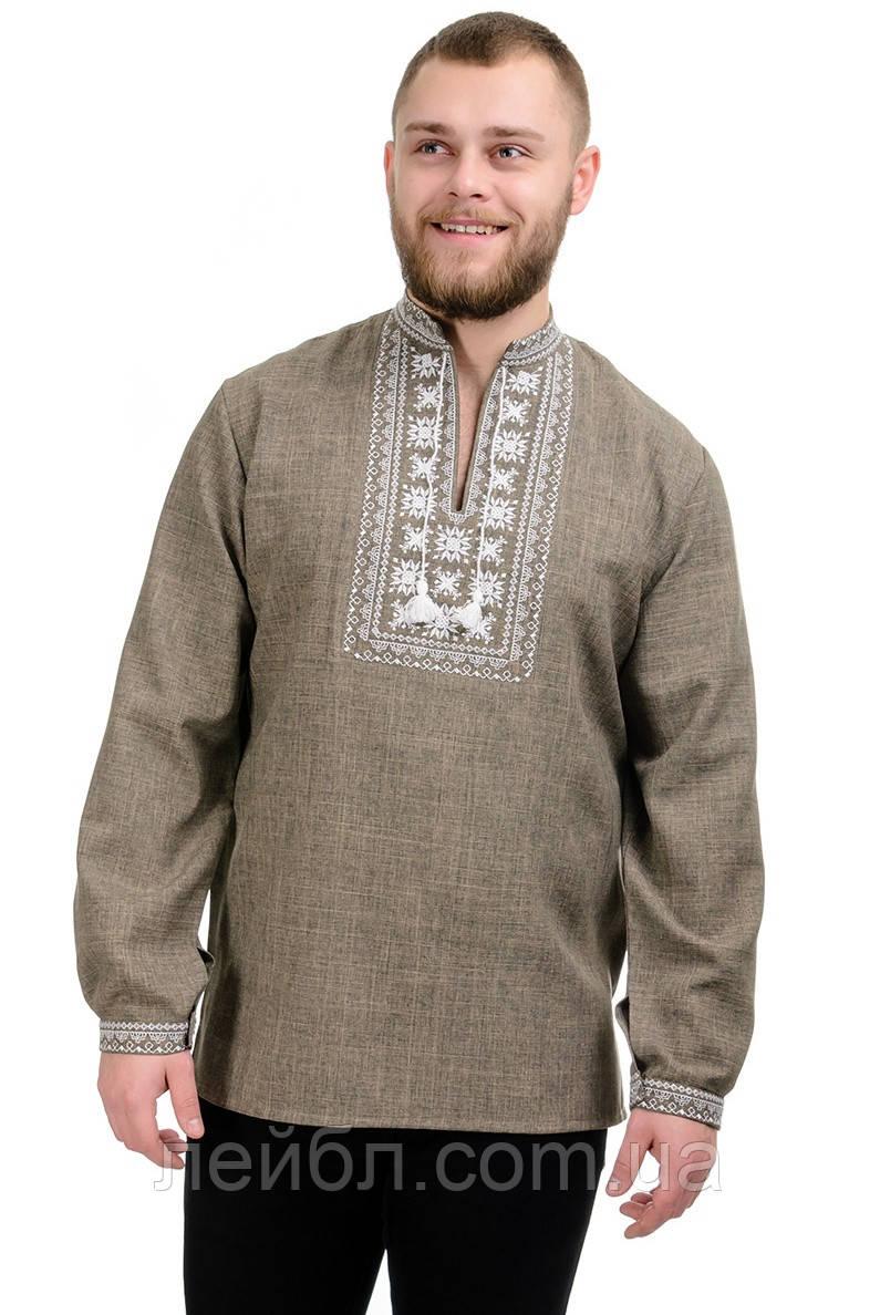 Мужская сорочка-вышиванка Орнамент - оливковая