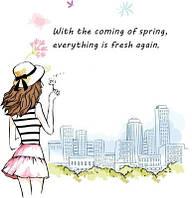 Наклейка виниловая Девушка Весна