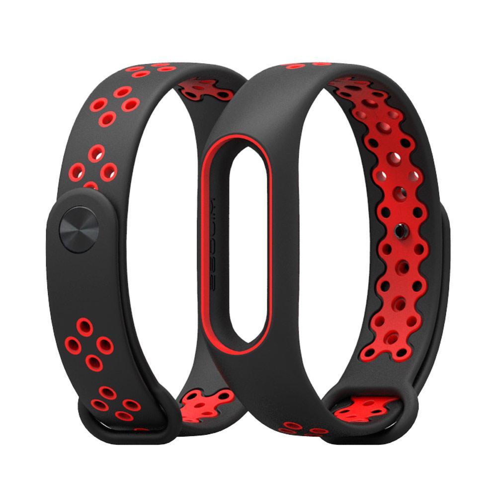 Ремешок для фитнес-браслета Xiaomi Mi Band 2, Black with red