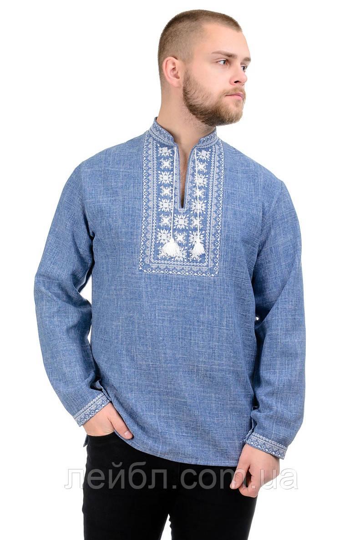 Мужская сорочка-вышиванка Орнамент - джинс
