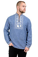 Мужская сорочка-вышиванка Орнамент - джинс, фото 1