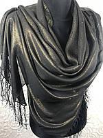 Шифоновый черный шарф с золотым напылением