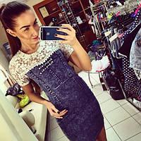 Женское джинсовое платье с кружевом, фото 1