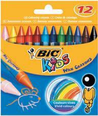 Восковые мелки BIC wax crayons (12 цветов)