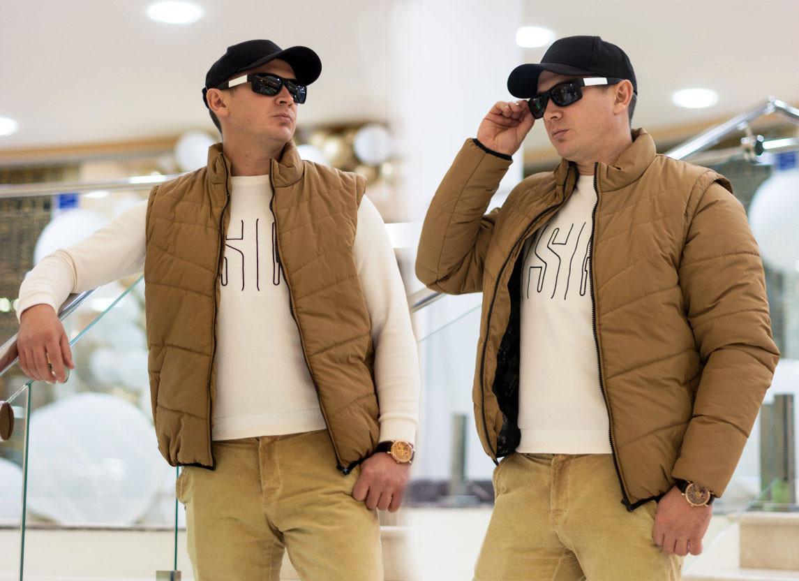 """Мужская стильная куртка 2 в 1 демисезон 748 """"Мемори Трансформер"""" в расцветках"""