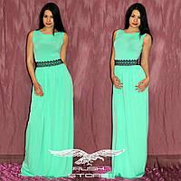 Платье в пол с кружевным поясом