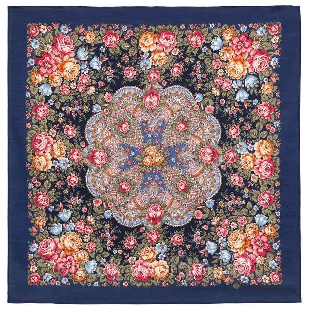 Цветочная нимфа 1831-14, 89x89, павлопосадский платок шерстяной с оверлоком
