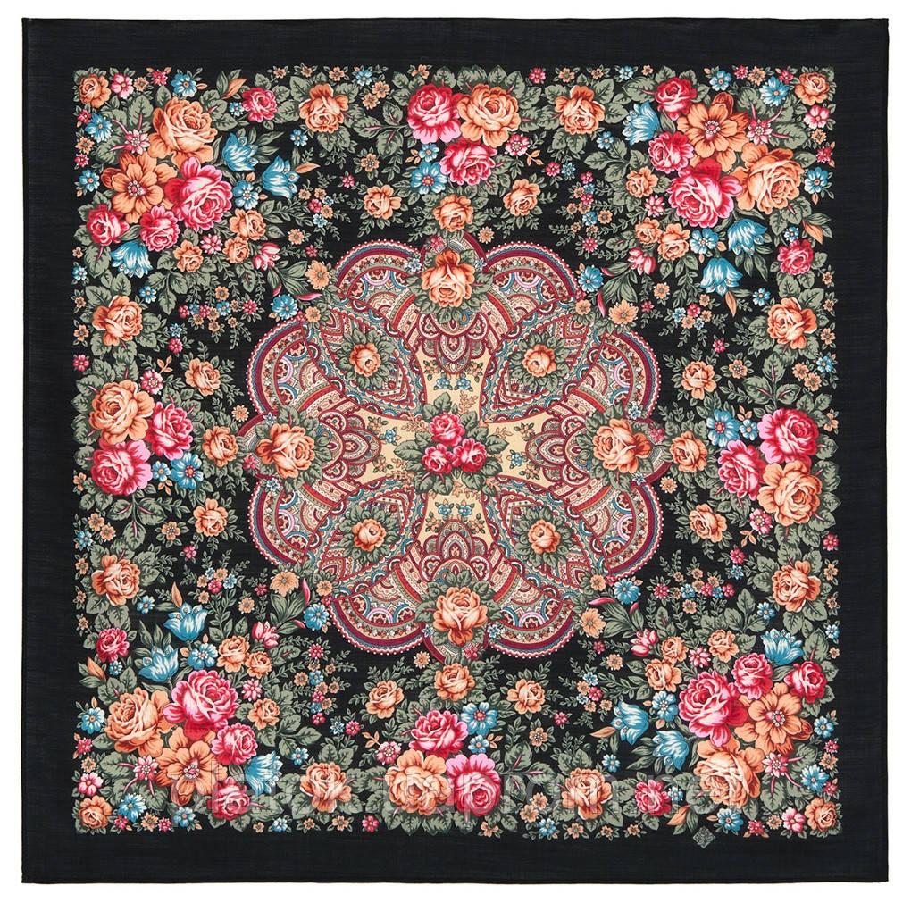 Цветочная нимфа 1831-18, 89x89, павлопосадский платок шерстяной с оверлоком