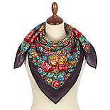 Цветочная нимфа 1831-15, 89x89, павлопосадский платок шерстяной с оверлоком, фото 2