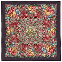 Цветочная нимфа 1831-15, 89x89, павлопосадский платок шерстяной с оверлоком