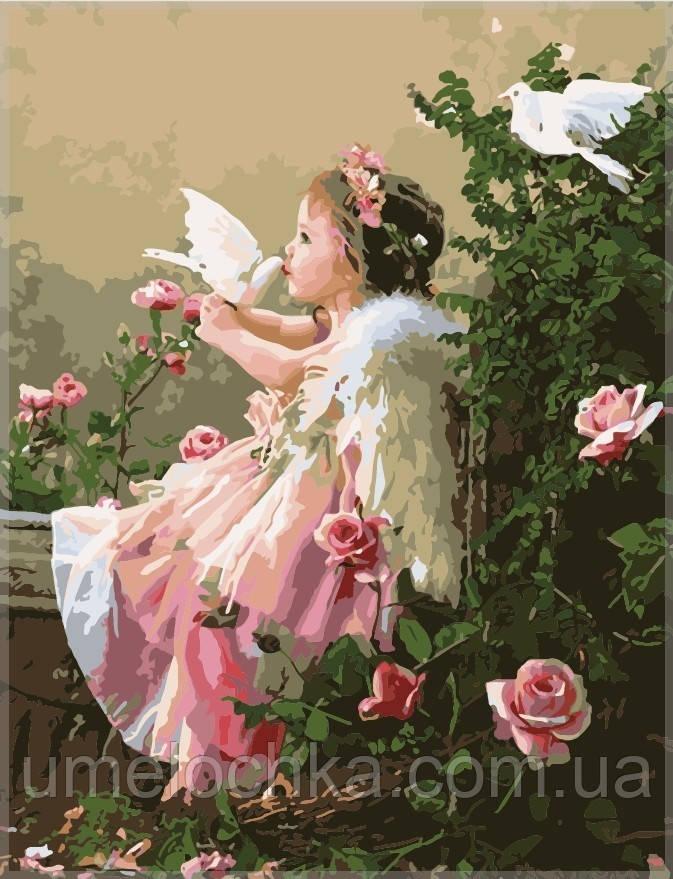 Раскраска по номерам Идейка Ангелочек и голуби KH1054