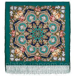 Домашний очаг 1829-12, павлопосадский платок шерстяной  с шелковой бахромой