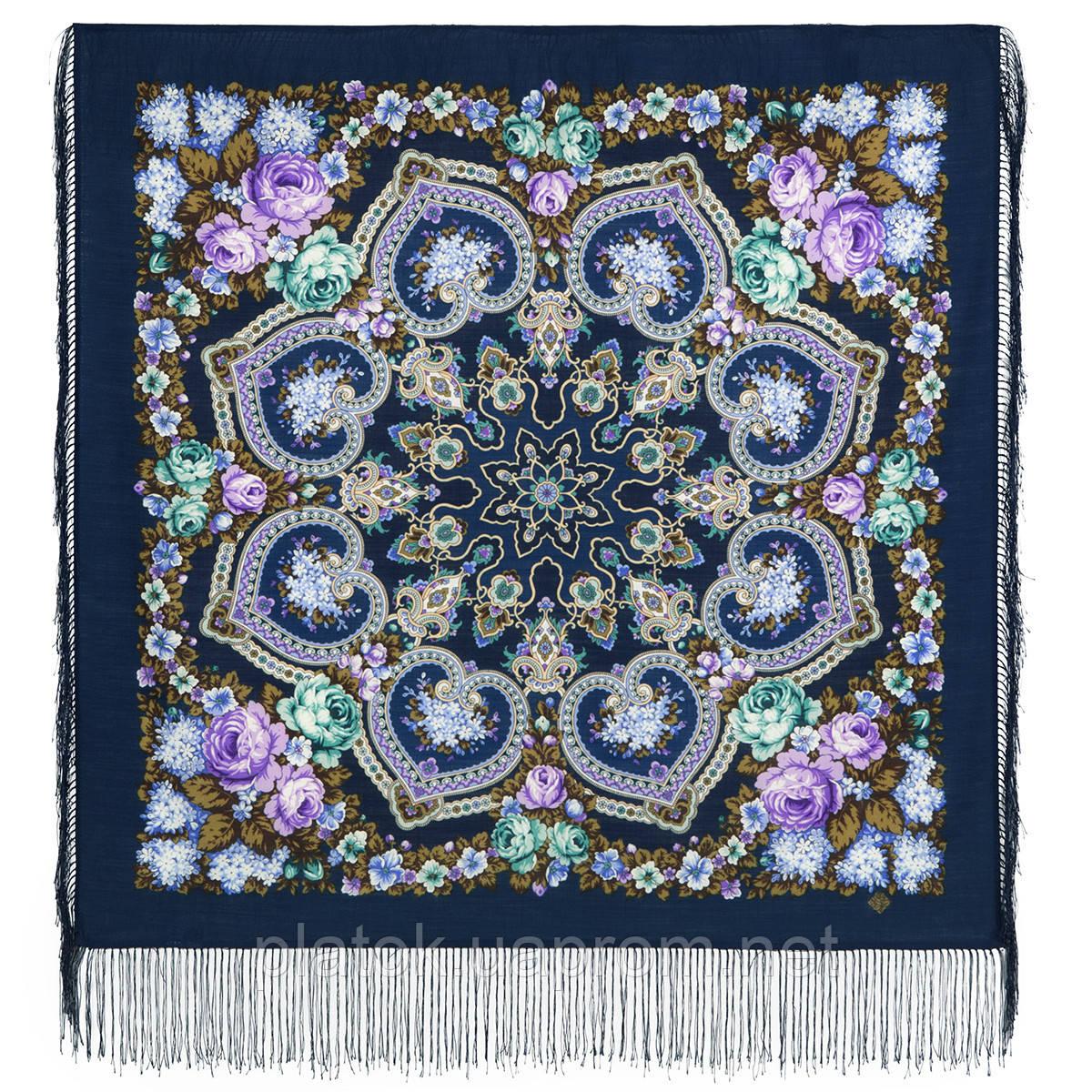 Домашний очаг 1829-14, павлопосадский платок шерстяной  с шелковой бахромой