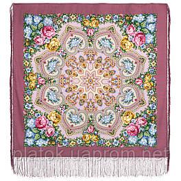 Домашний очаг 1829-2, павлопосадский платок шерстяной  с шелковой бахромой