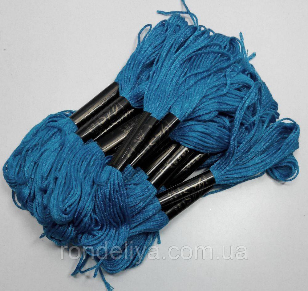 Бавовняні Нитки муліне яскраво-синій