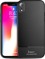 Чехол-накладка Ipaky Carbon Fiber Series/ TPU Case with Carbon Fiber Pattern iPhone Xr (6,1) Black