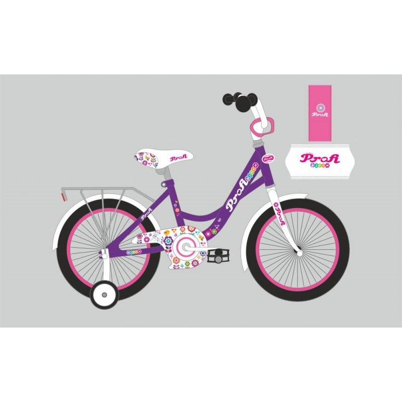 Детский двухколесный велосипед для девочки PROFI 18 дюймов фиолетовый, Bloom,Y1822-1