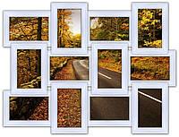 Деревянная мультирамка на 12 фото Классика 12, белая, фото 1