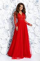 Вечернее платье с гипюром в расцветках 320 (7259)