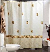 Штора для ванной комнаты  из полиэстера (180Х200 см) декор AUSTURIA с бежевым узором Miranda OST-346