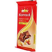 Шоколад Корона Молочный с цельными лесными орехами 90 г