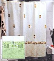 Штора для ванной комнаты  из полиэстера (180Х200 см) декор AUSTURIA с зеленым узором Miranda OST-348