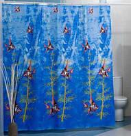 Штора для ванной комнаты  из полиэстера (180Х200 см) декор ATLANTIS с голубым узором Miranda OST-350