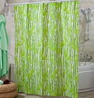 Штора для ванной комнаты  из полиэстера (180Х200 см) декор BAMBOOS с зеленым узором Miranda OST-352