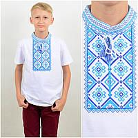"""Вышитая мальчуковая футболка """"Француз"""", трикотаж, 116-140 см., 180/150 (цена за 1 шт. + 30 гр.)"""