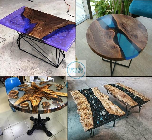 Фото готовых столов из дерева и эпоксидной смолы