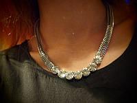 Цепочка со стразами, серебро, фото 1